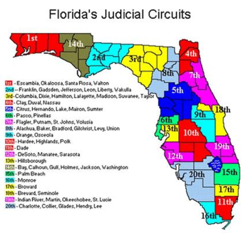Map of Florida's Judicial Circuits State Attorney's Office