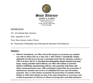 Memo from State Attorney Andrew Warren on the Impact of Florida's New Hemp Law on Marijuana Prosecutions